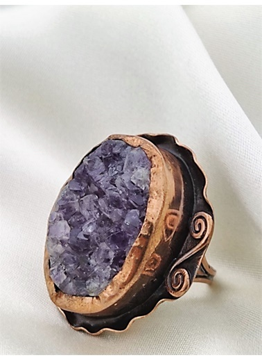 Stoneage Ametis Astaş Yüzük Hediye Kutusunda Mor